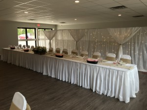 Head Table setup in the Badger Room